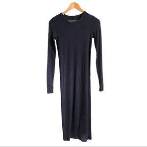 Enza Costa Navy Blue Ribbed Long Sleeve Midi Dress